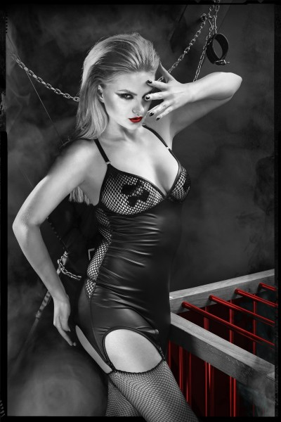 schwarzes Strapskleid DDEris001 von Demoniq Dark Desire Collection
