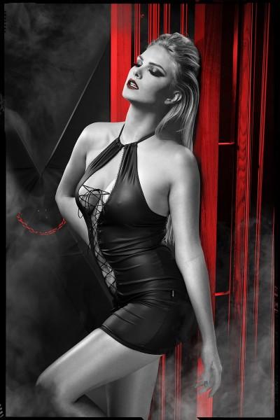 schwarzes Minikleid DDFojbe001 von Demoniq Dark Desire Collection