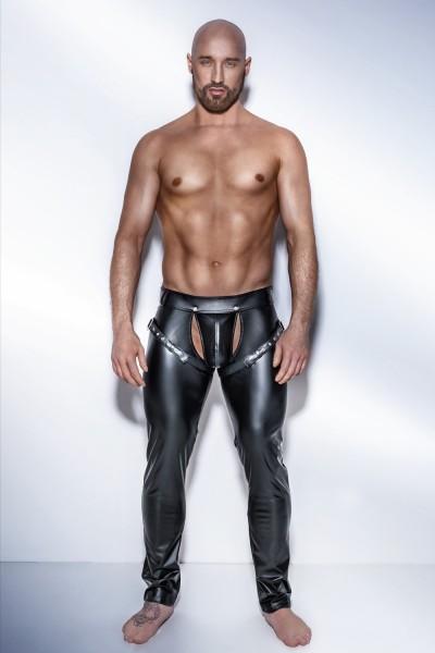 schwarze Powerwetlook Hose mit verstellbaren Bändern H042 von Noir Handmade