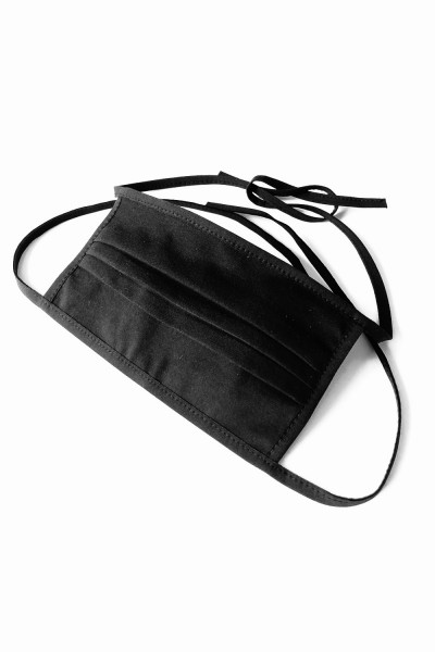 Baumwollmaske 2-lagig zum binden und mit Filtertasche schwarz - STANDARD 100 by OEKO-TEX