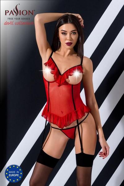 rotes ouvert Corset Cherry von Passion Devil Collection