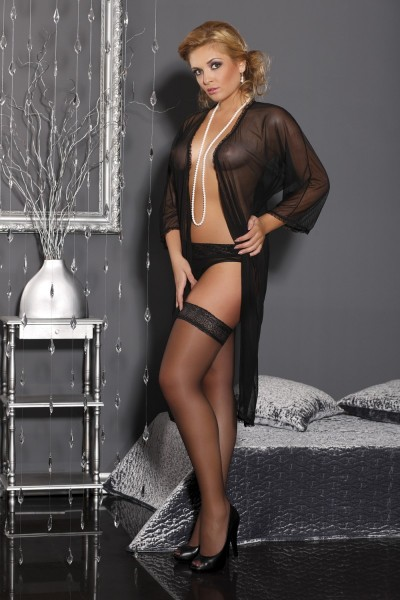 schwarzer langer Morgenmantel M/1060 Delicate Sophie von Andalea Dessous