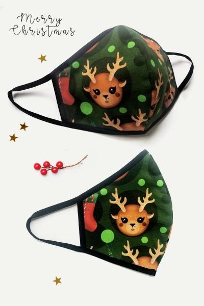 2-lagige X-mas Maske grün
