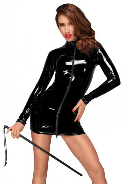 PVC Minikleid mit schwarzem 2-Wege Zipper auf der Vorderseite F187 von Noir Handmade Decadence Colle
