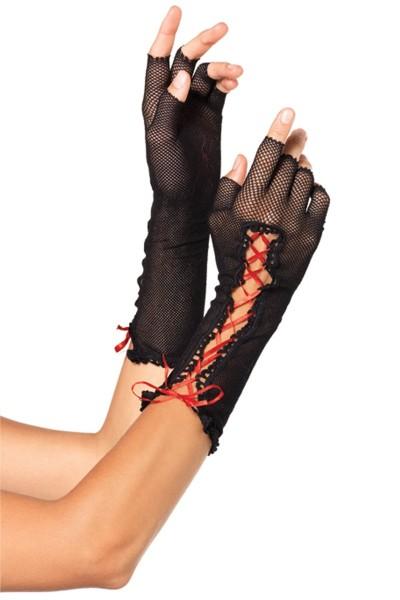schwarze halblange fingerlose Netzhandschuhe mit Schnürung von Leg Avenue
