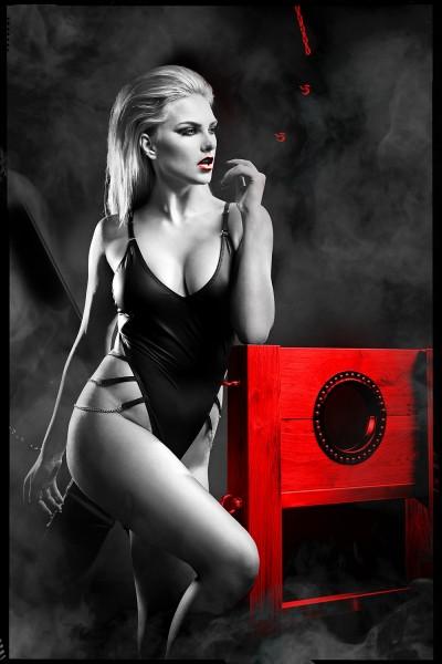 schwarzer Ketten-Body DDKery001 von Demoniq Dark Desire Collection