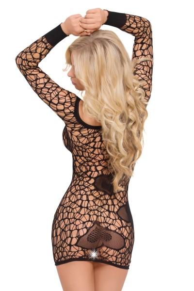 schwarzes Netzkleid 6021 von Softline Bodystockings Collection