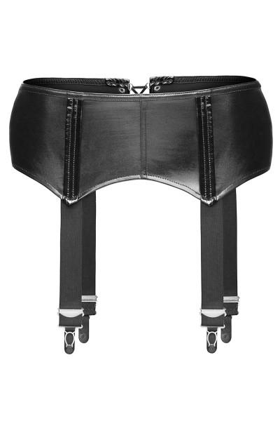 schwarzer Wetlook Strapsgürtel F034 von Noir Handmade