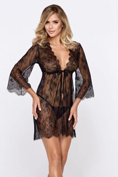 schwarzes Lea Desssing Gown + String von Hamana