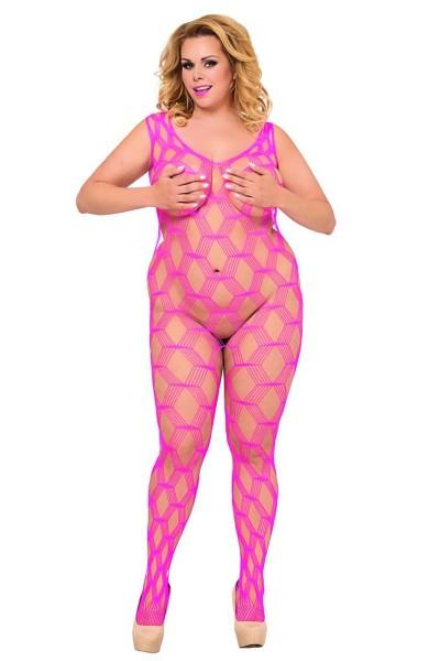 pinkes Netz-Catsuit ouvert 6254, Bodystocking von Softline Plus Size