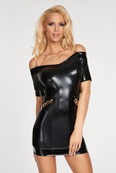 schwarzes Wetlook-Kleid Diadema von 7-Heaven