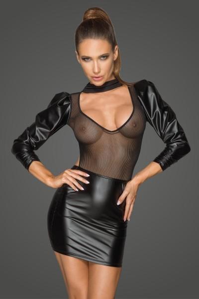 Powerwetlook- und Tüllkleid mit bauschigen Retro-Glamour-Ärmeln F201 von Noir Handmade Rebillious Co