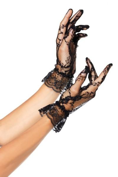 kurze Spitzenhandschuhe schwarz, One Size, G1260 von Leg Avenue