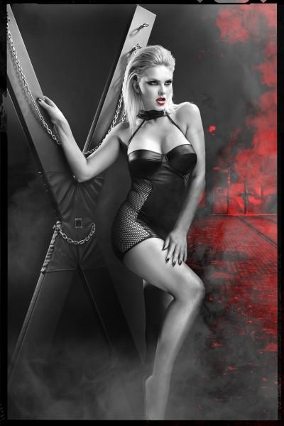 schwarzes Minikleid DDFeme001 von Demoniq Dark Desire Collection