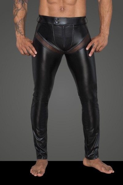 Powerwetlook-Longpants mit Einsätzen und Taschen aus 3D-Netz H059 von Noir Handmade Rebellious Colle