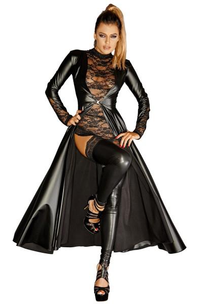 schwarzer langer Mantel F128C von Noir Handmade Diva Collection