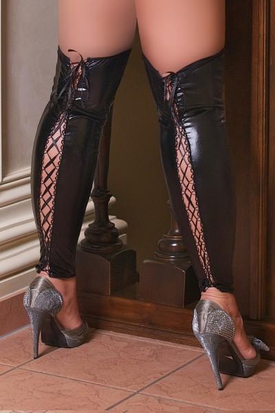 sexy Beinstulpen S/3045 aus schwarzen Wetlook mit Schnürung von Andalea Dessous