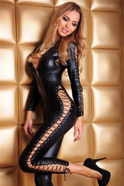 schwarzes Wetlook Catsuit Sheila von 7-Heaven Dessous