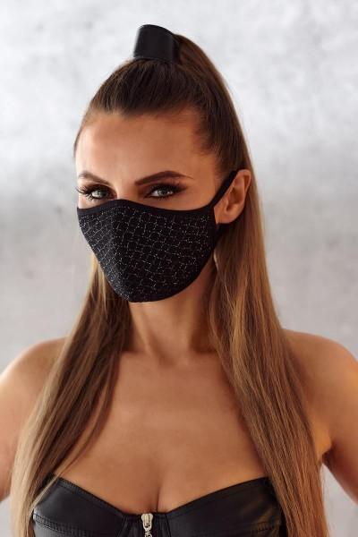 2-lagige Maske 003 mit dekorativen Netz und Baumwolle Oeko Tex