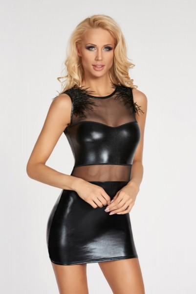 schwarzes Wetlook-Kleid Moche von 7-Heaven