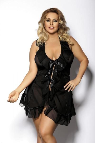 schwarzes Minikleid AA051274 von Anais Apparel Plus Size