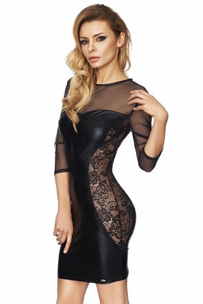 schwarzes Wetlook-Kleid Arica von 7-Heaven