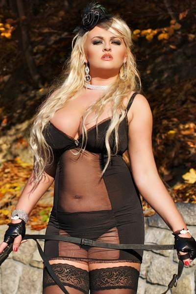 schwarz transparentes Kleid S/3028 Domina von Andalea Dessous