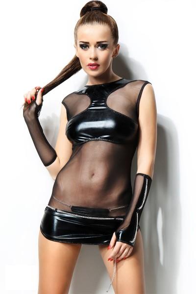 schwarzes Wetlook-Kleid Anette von Demoniq