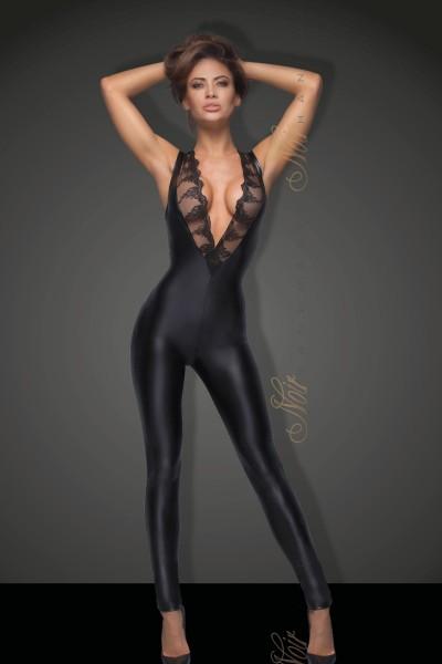 schwarzer Ärmelloser Powerwetlook Overall mit Spitze F167 von Noir Handmade B#tch Collection