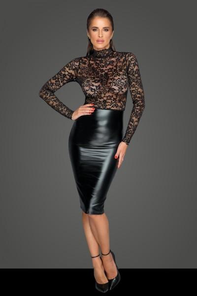 Midi Kleid mit sanfter Spitze F228 von Noir Handmade MissBehaved Collection